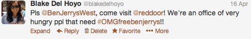 Begging for free ice cream on Twitter